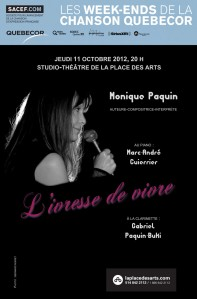 Monique Paquin au Studio-théâtre de la Place des Arts - 11 octobre 2012