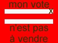 carré rouge : mon vote n.est pas à vendre