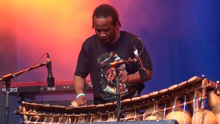 Adama Daou, musicien du Mali, ici jouant du balafon fabriqué par sa famille
